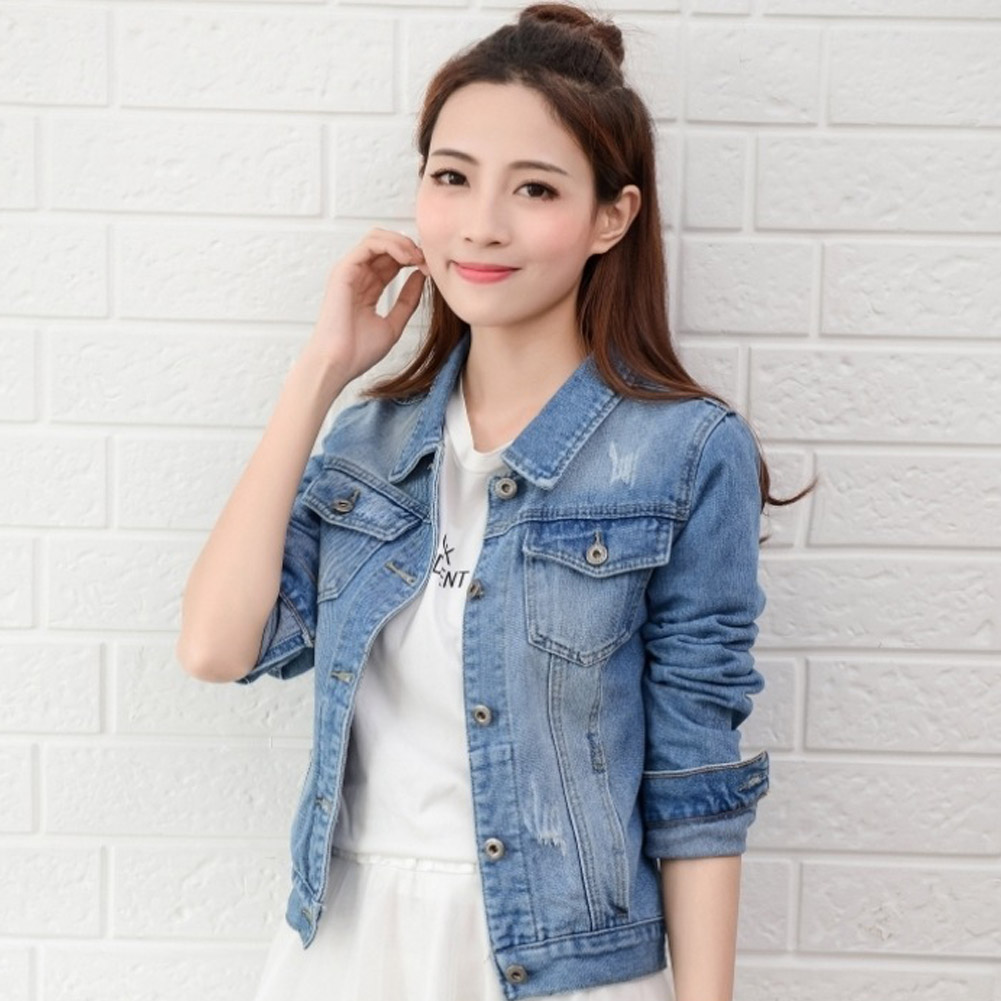 Women Denim Jacket Light Blue Short Jeans Casual Ripped Woman's Coat Slim Long Sleeve Casual Lady Female Jacket Plus Size S-2XL
