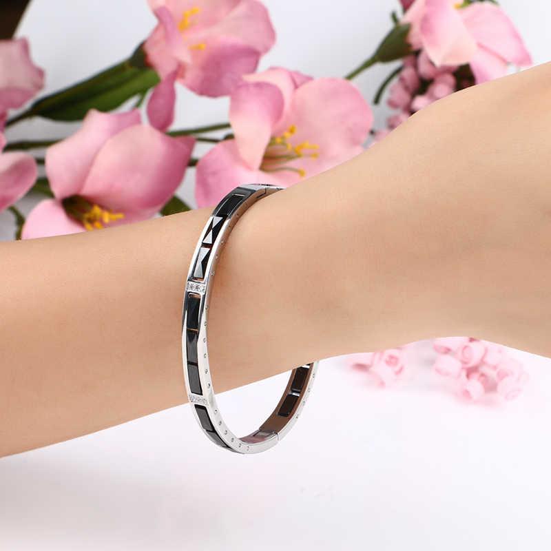 Wanita Gelang Perak Warna Stainless Steel dengan BLING Berlian Imitasi Gelang Gelang untuk Wanita Bahan Keramik Perhiasan Hadiah