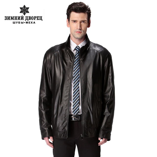 New Hot leather jacket,Genuine Leather,Mandarin Collar,Sheepskin,Thin,Leather jacket men