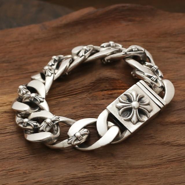 Venta al por mayor joyas de plata S925 estrella con una personalidad para hombre de corea versión retro más flor de la pulsera rough cruz de plata