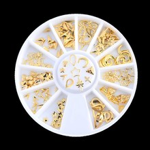 Gold Mixed 3D DIY Hollow Stars Moon Jewelry Accessories Design Metal Rivets Nail Art Decoration