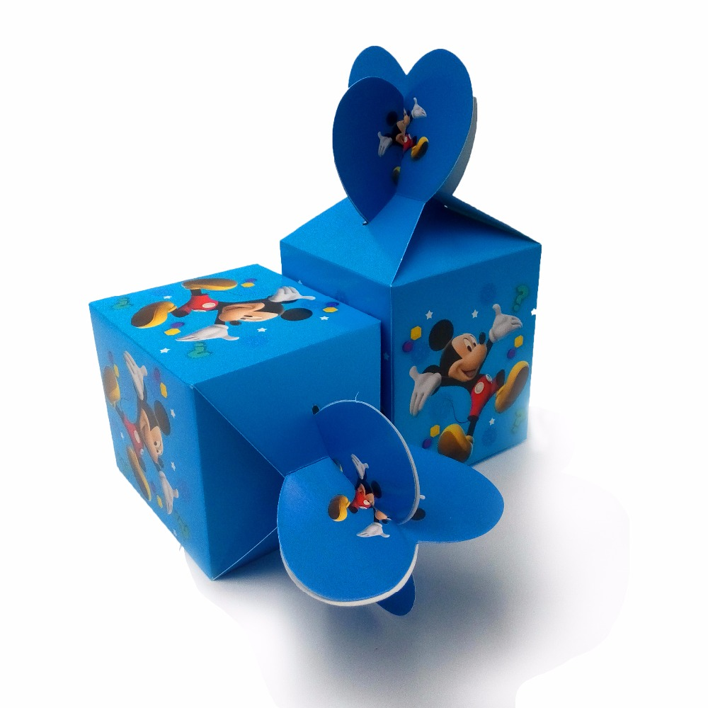 6pcsset Mickey Mouse Paper Candy Box Cartoon Happy Birthday Decoration Theme Party Supply Festival Kids Girl Blue