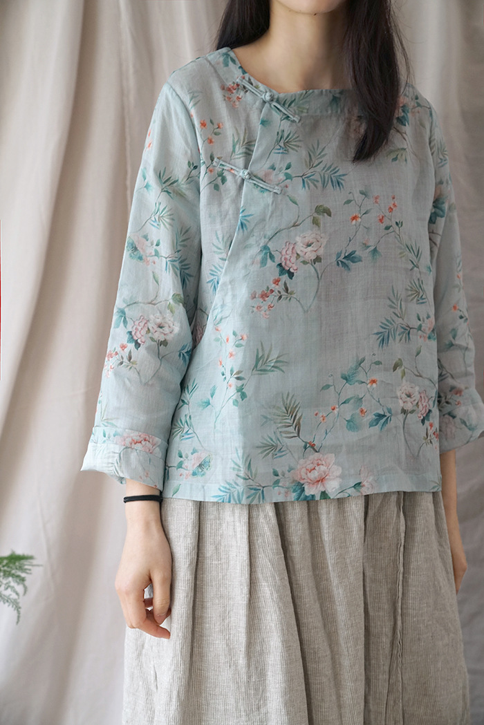 Original Theatrical Summer Ramie Chinese Clothing Zen Tea Style Shirt Shirt Retro Print