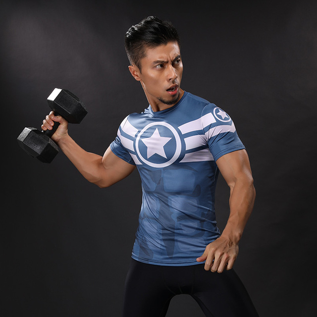2017 new Compression Shirt Anime Superhero Punisher Captain America Superman 3D T Shirt Fitness Tights Base Layer T Shirts