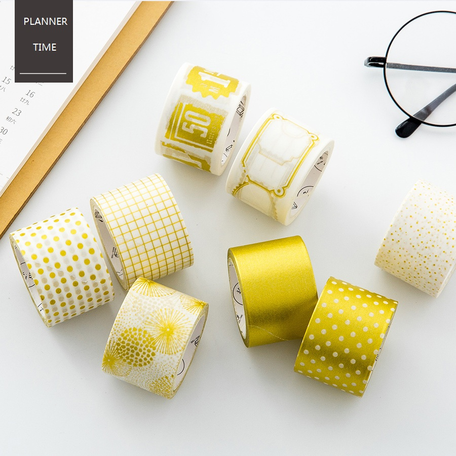 Gold & Silver Foil Dot Grid Design Washi Tape DIY Decoration ...
