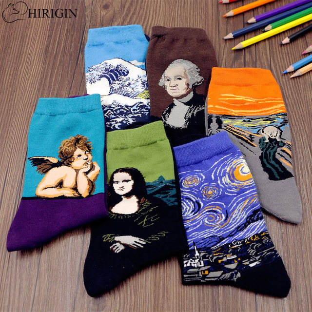 HIRIGIN 1 pares de moda suave hombres mujeres pintura creativa Van Gogh Mona Lisa imprimir calcetines elegantes Unisex calcetines Vintage divertido calcetines
