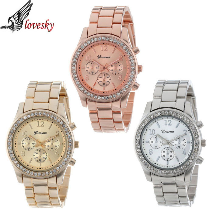 Lovesky 2017 New Fashion Faux Chronograph Plated Classic Geneva Quartz Ladies Watch Women Crystals Wristwatches Relogio Feminino