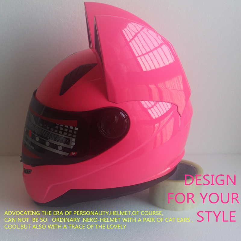 Full face motorcycle cat ear helmet 3