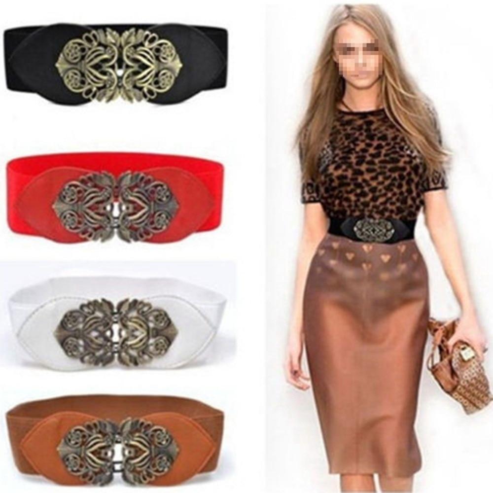 Women Retro Adjustable Flower Elastic Stretch Buckle Wide Waistband Belt Apparel Hot