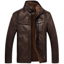 Mens Leather Jackets Winter Warm Fleece Coats Thick Outerwear Zipper Motorcycle Male PU Outerwear Business Winter Fur Jacket