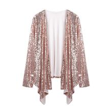 2019 Cardigan Women Long Sleeve Solid Sequined Irregular Cardigan Tops Cover Up Blouse 2018 Spring f