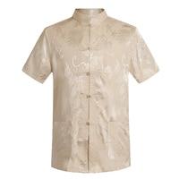 WAEOLSA Summer Man Tangzhuang Tunic Shirt Whit Red Blue Sliver Silk Top Men Mandarin Collar Blouses Dragon Jacquard Tang Shirt