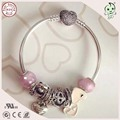 Hot Sale Summer Series Pink Love Heart  Style 925 Authentic Silver Charm Bangle With Full Stone Paving Heart Clasp