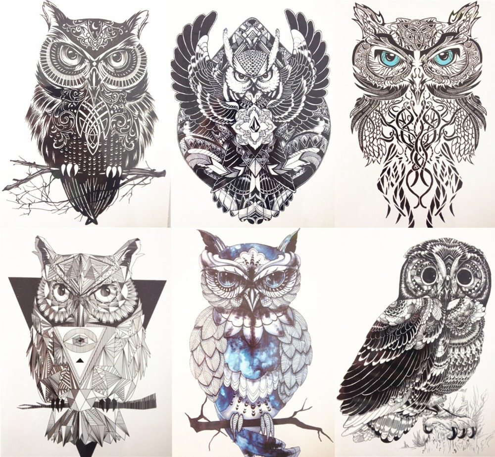 6pc/set  21X15cm Black Flying Owl  Fastion Party Temporary Tattoo Combo for Cool Girls and Man Tattoo #013