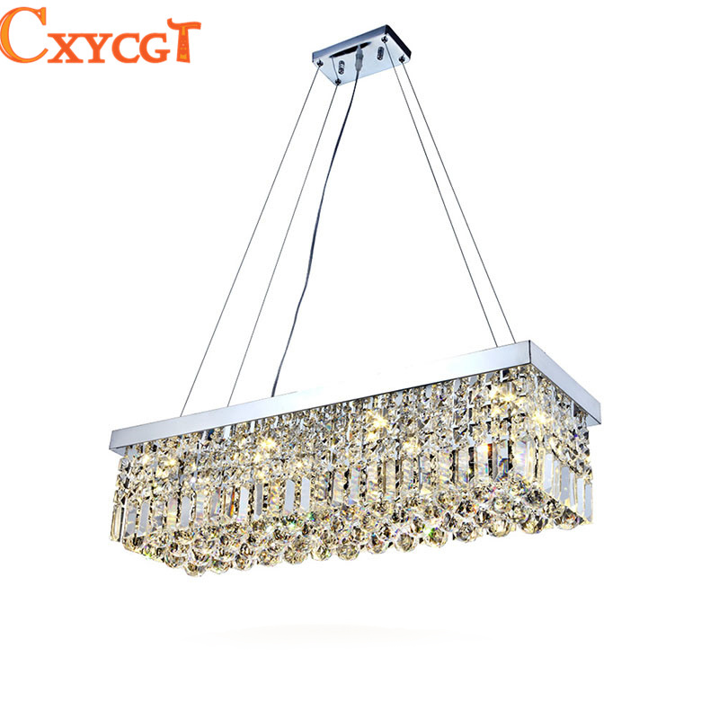 LED Modern Rectangular Crystal Chandelier Light Fixture pendant Hanging lamp for Parlor Dining Room Restaurant Decoration modern crystal chandelier led hanging lighting european style glass chandeliers light for living dining room restaurant decor