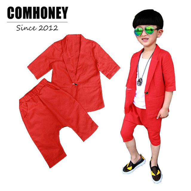 fe207ee03f1b Baby Boys Wedding Suit Kids Tuxedo Blazer Jacket for Boys Red Blue ...