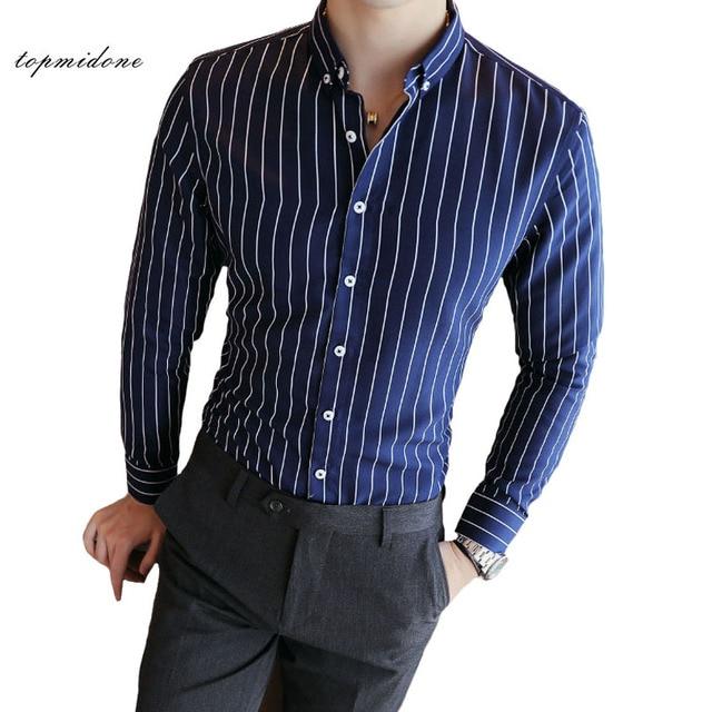 67052001f8f Mens Black And White Striped Dress Shirt Long Sleeve – Little Black ...