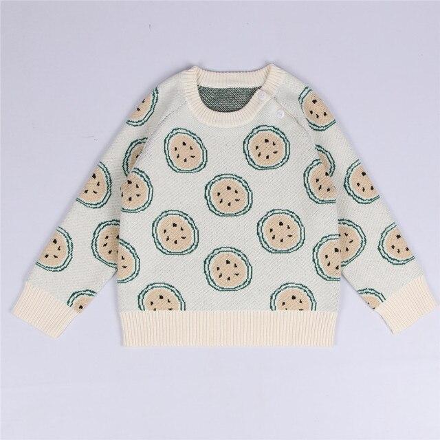 Hot 2016 autumn winter New Newborn Kid Baby Girl Orange Print Long Sleeve Sweater Pullover Cotton Sweater baby boy clothes