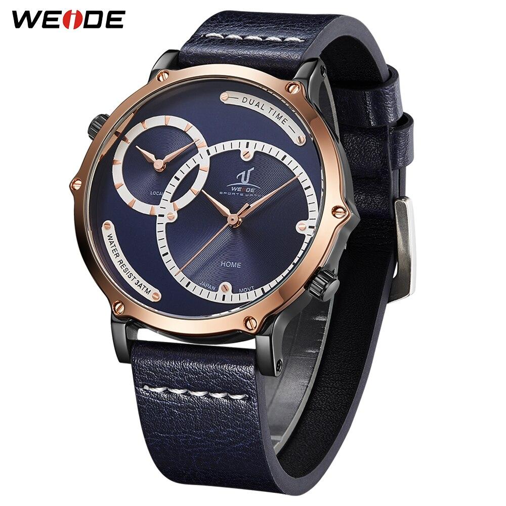 Weide plusieurs fuseaux horaires alarme Date montres de sport montres à Quartz numérique montres hommes Top marque de luxe cadran bleu montre horloge
