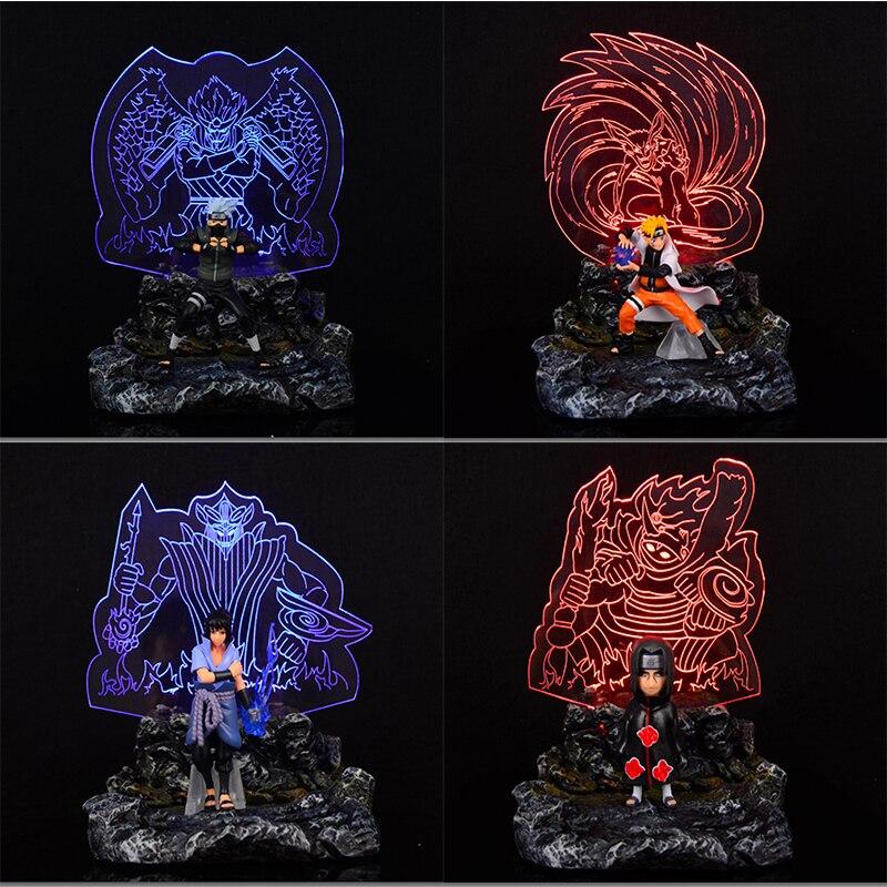 Naruto PVC & Resin Sasuke Itachi Hatake Kakashi Susanoo Kurama DIY Display Set Lamp Action Figure Collection Model Toy футболка print bar kurama naruto