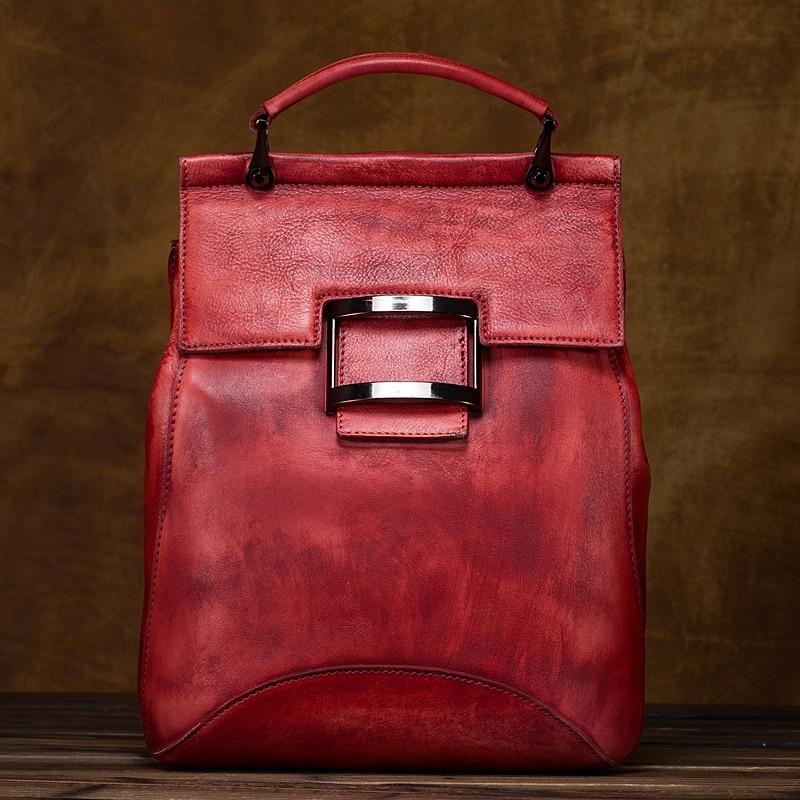 High Quality Women Natural Cowhide Backpack Rucksack Brush Color Genuine Leather Vintage Girl Knapsack Travel Bag