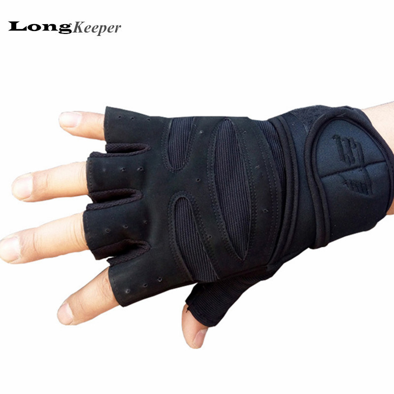 LongKeeper Professional Gloves for Gym Work Out Fitness Fingerless Weighlifting Gloves for Men Women Sport Military Luvas G130