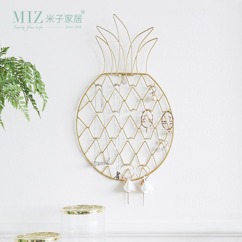 Miz Jewelry Organizer Jewelry Display Rack Pineapple Shape Metal Rack Wall Hanging Organizer for Earrings Necklace Key Hanger