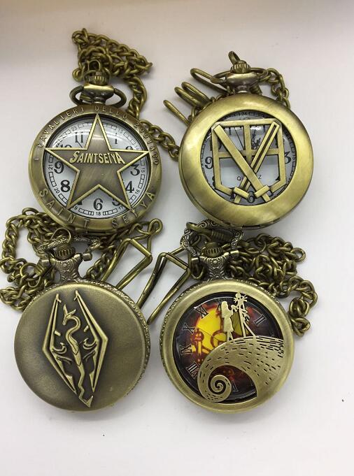 Wholesale 20 PCS/lot Saint Seiya Snake Steampunk Antique Pocket Watches Gift