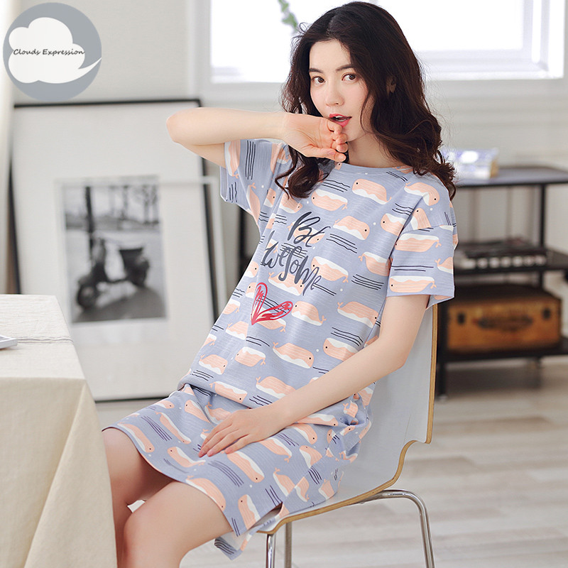 Summer 100% Cotton Cartoon Women's Sleepwear Girl Nightgowns Sleepshirts Dress Nightwear Nightdress Mujer Sleepwear Home Fashion