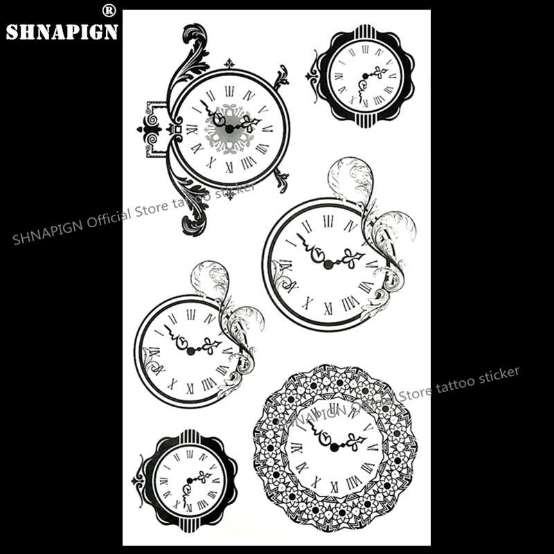 Shnapign Wise Time Circle Clock Temporary Tattoo Body Art Arm Flash Tattoo Stickers 17 10cm Waterproof Fake Henna Painless Sticker Eyeliner Stickers Ipodsticker Accessories Aliexpress
