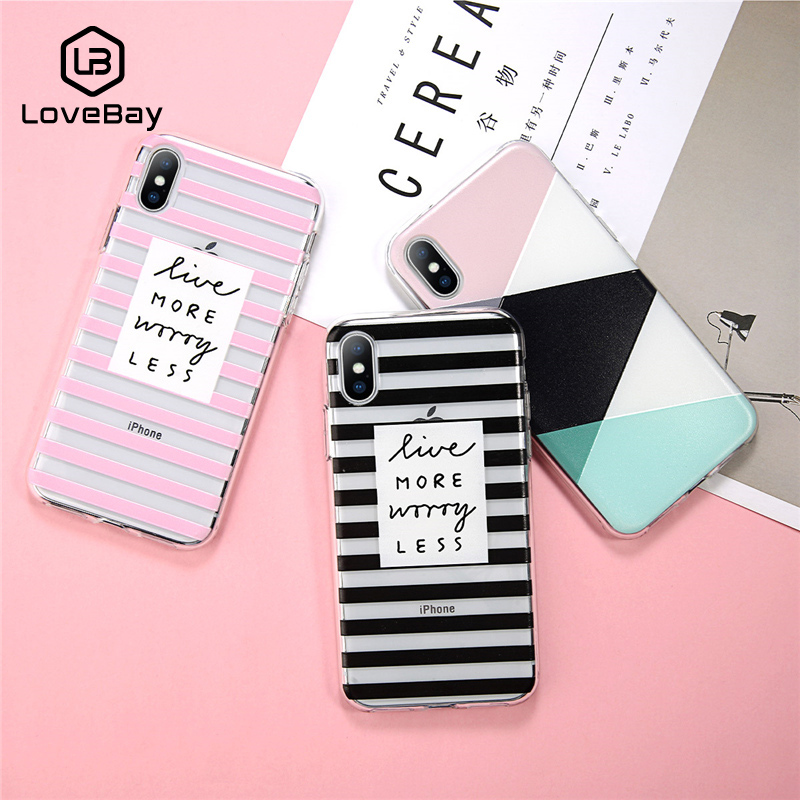 Galleria fotografica Lovebay Phone Case For iPhone 6 6s 7 8 Plus X XR XS Max Fashion Cartoon Relief Geometry Stripe Letter Soft TPU For iPhone X Case