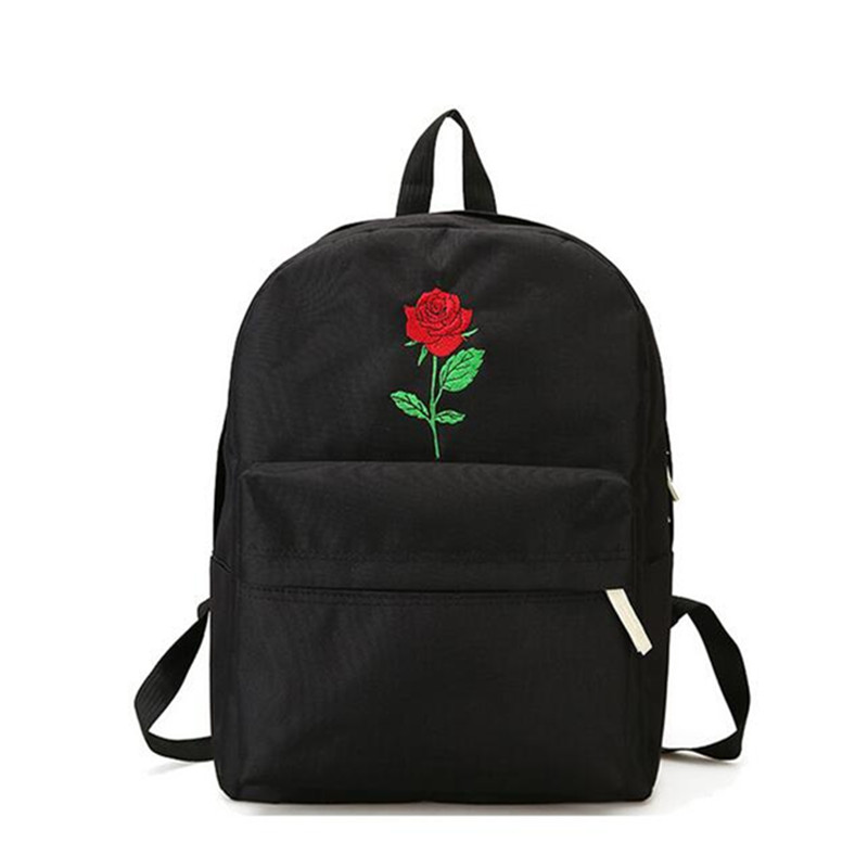Men And Women Canvas Rose Flower Embroidery Cute Backpack Student Teenage Girls School Bags Travel Shoulder Bag Black Rucksack vintage cute owl backpack women cartoon school bags for teenage girls canvas women backpack brands design travel bag mochila sac