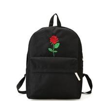 Men And Women Canvas Rose Flower Embroidery Cute Backpack Student Teenage Girls School Bags Travel Shoulder Bag Black Rucksack