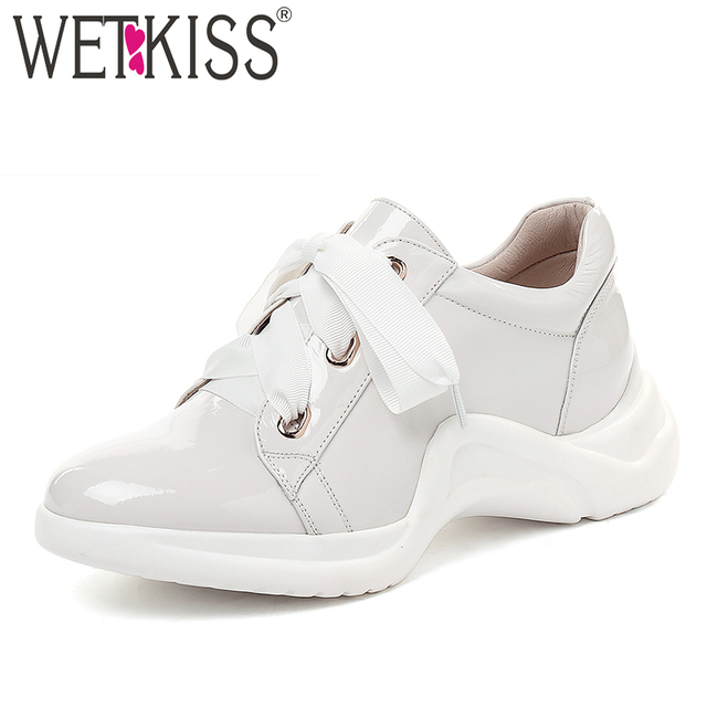 4c8f90b084d5ca WETKISS Leather Women Dorky Dad Flats Round Toe Lace Up Footwear Platform  Clunky Shoes Autumn Insert Sneakers Shoes Women 2018