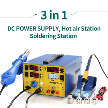 цена на YIHUA 853D+ 3A Mobile Phone Repairing 3 In 1 Soldering Station Gun With Soldering Iron And 3A DC Power Supply