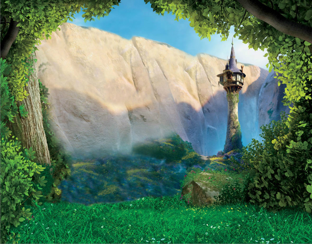 8x8ft tangled rapunzel sunshine rock mountain tower forest custom photography studio backgrounds - Tangled tower wallpaper ...