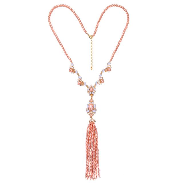 Rosa Gris Cristal Granos de Acrílico Collar Largo Borla Colgante Collar Clásico de Las Mujeres Del Todo-Fósforo de Joyería de Fantasía