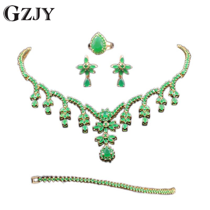 GZJY Gorgeous Green Zircon Bridal Jewelry Sets Gold Color Flower Necklace Earrings Ring Bracelet Sets Wedding Jewelry For Women a suit of gorgeous rhinestone necklace ring bracelet and earrings for women