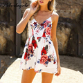 Novo 2017 Summer beach boho floral impressão macacão Sem Encosto sexy bodysuit mulheres jumpsuit Clube romper playsuit collant branco chifon