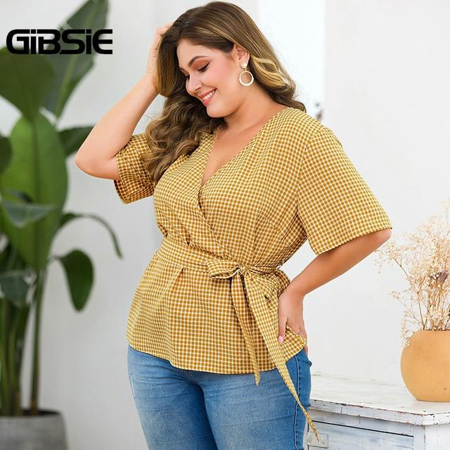 GIBSIE Plus Size Elegant Wrap V-Neck Plaid Shirt Top With Belt Women Short Sleeve Clothing Female Big Size OL Summer Blouse 4