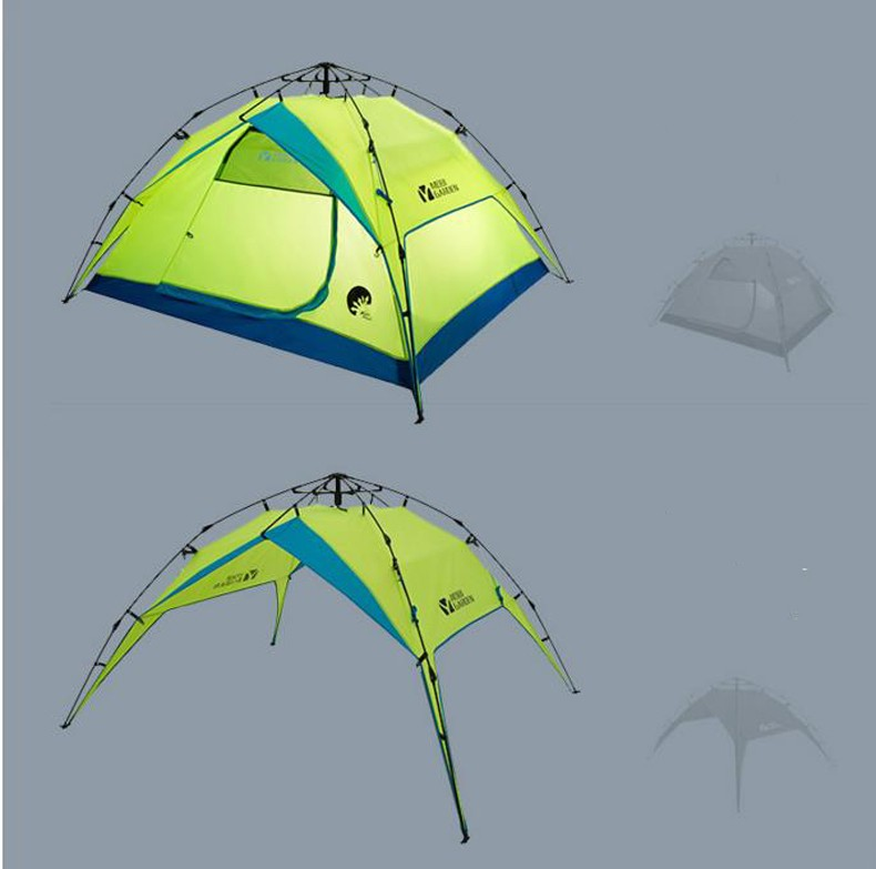 Outdoor travel tent resist Wind double layer 3 4 people space automatic speed set park font