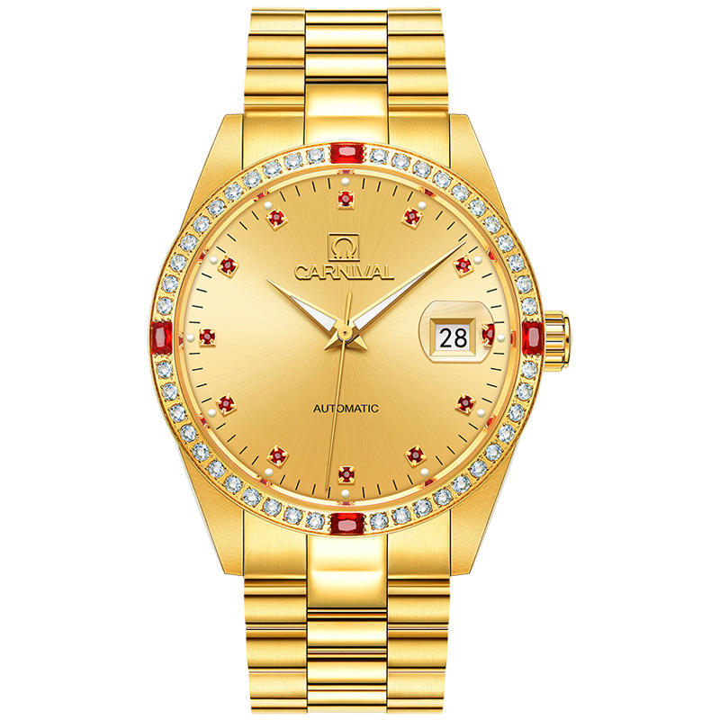 CARNIVAL Luxury Golden Business Men Watch Top Brand Automatic Watch Men Complete Calendar Waterproof luminous mechanical watches