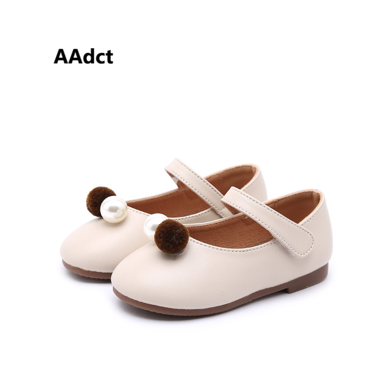AAdct 2018 toddler baby princess shoes pearl fashion little girls shoes Brand High-quality leather children shoes flat