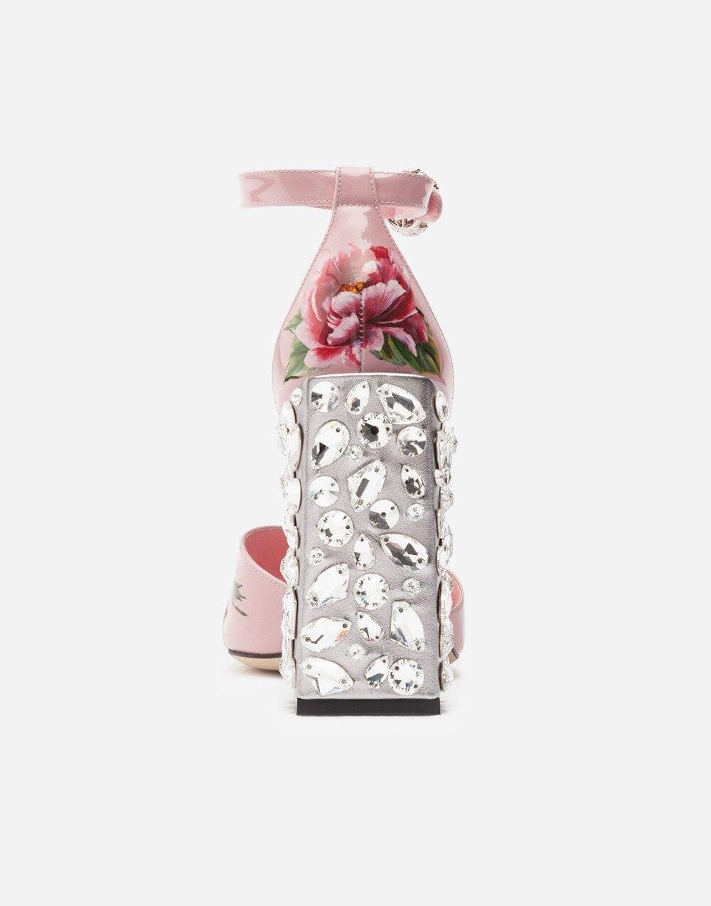 Nouveau En Cristal Cuir Rose Bandoulière Haut Talon Chunky Arrivent Sandale Toe Peep Fleur Femme HTKrHSy