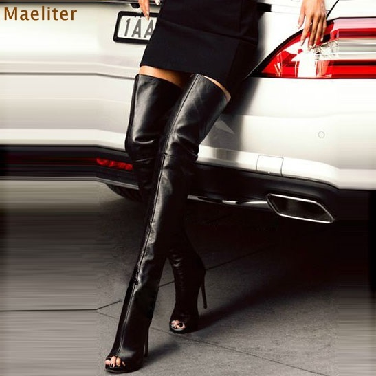 Black Sexy Peep Toe Stiletto Heel Thigh