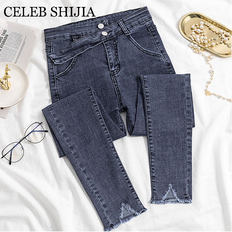2019 Jeans Female Denim Pants Korean Fashion Bottom Gray Color Womans Pencil Pants Denim Elastic Trousers For Ladies Donna
