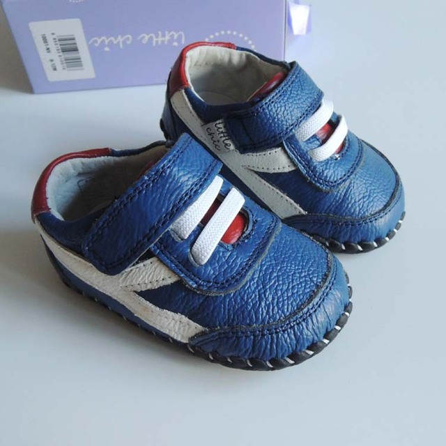 little chic Cute Blue Color Baby Boys Leather Shoes Genuine Leather Handsome Little Kids Shoes Hot Sale