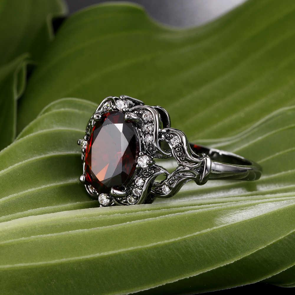 خواتم كبيرة كلاسيكية للسيدات على طراز قوطي من الزهور مجوهرات الخطبة للسيدات باللون الأحمر والأبيض CZ بأحجار الزركون الخالدة للنساء