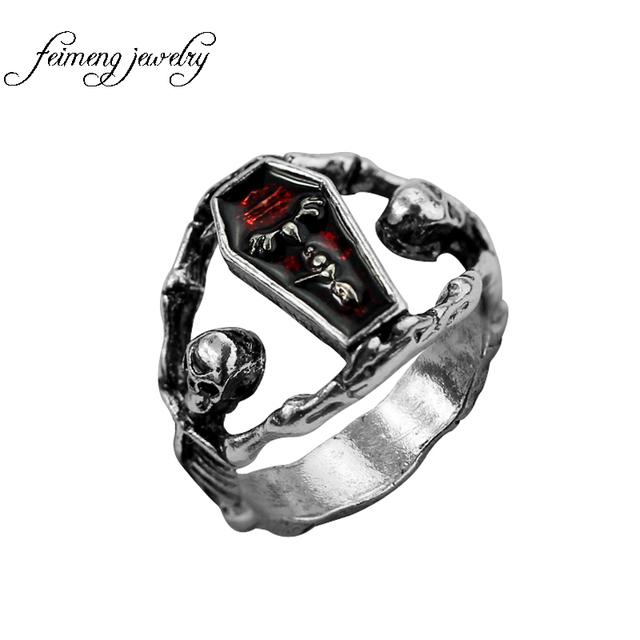 Maxi Punk The Vampire Diaries Coffin Ring For Party Wedding Bands Women And Men Fans Size