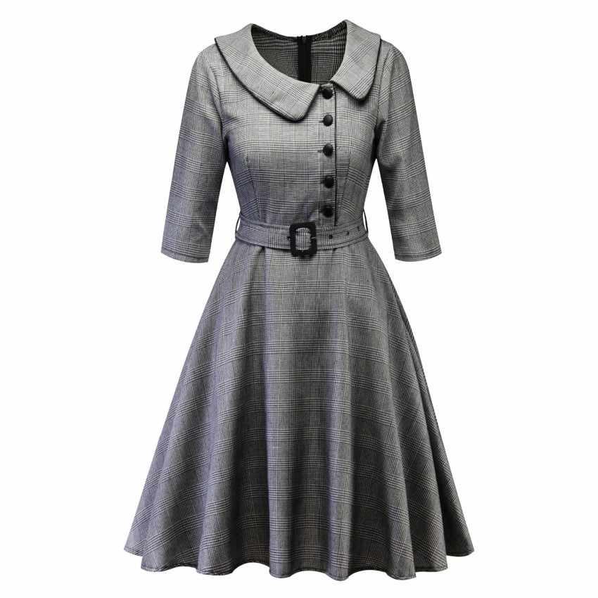 2019 повседневное бордовое элегантное офисное женское клетчатое платье с рукавом 3/4 винтажное платье с воротником под горло женское Ретро весенне-осеннее платье